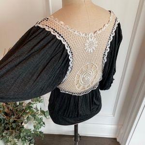 Rumors Women's Lace Back Dolman Sleeve Knit Top
